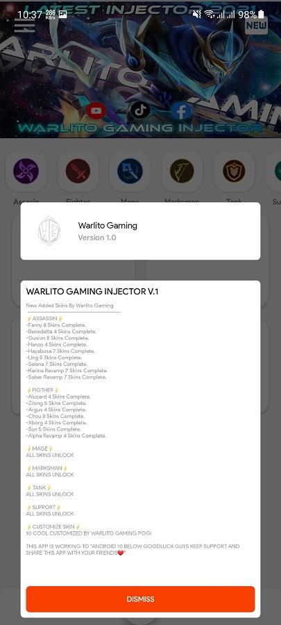 Screenshot of Warlito Injector