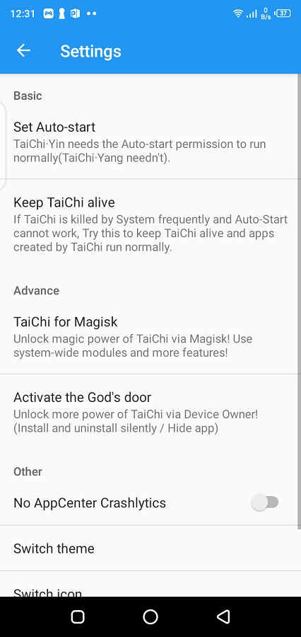 Screenshot of Taichi Android