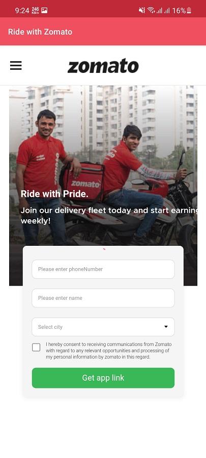 Screenshot of Zomato Delivery Partner