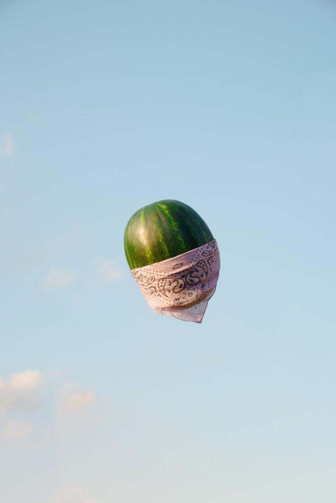 melon with a bandana