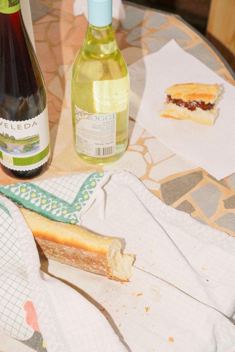 Portuguese chouriço -bread-and-wine