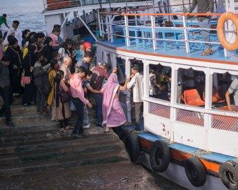 Crowded ferry in Mumbai
