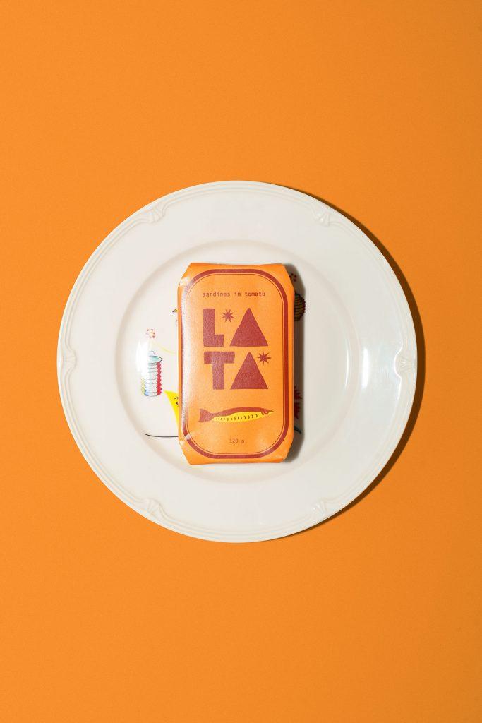 Lata sardine can on a plate