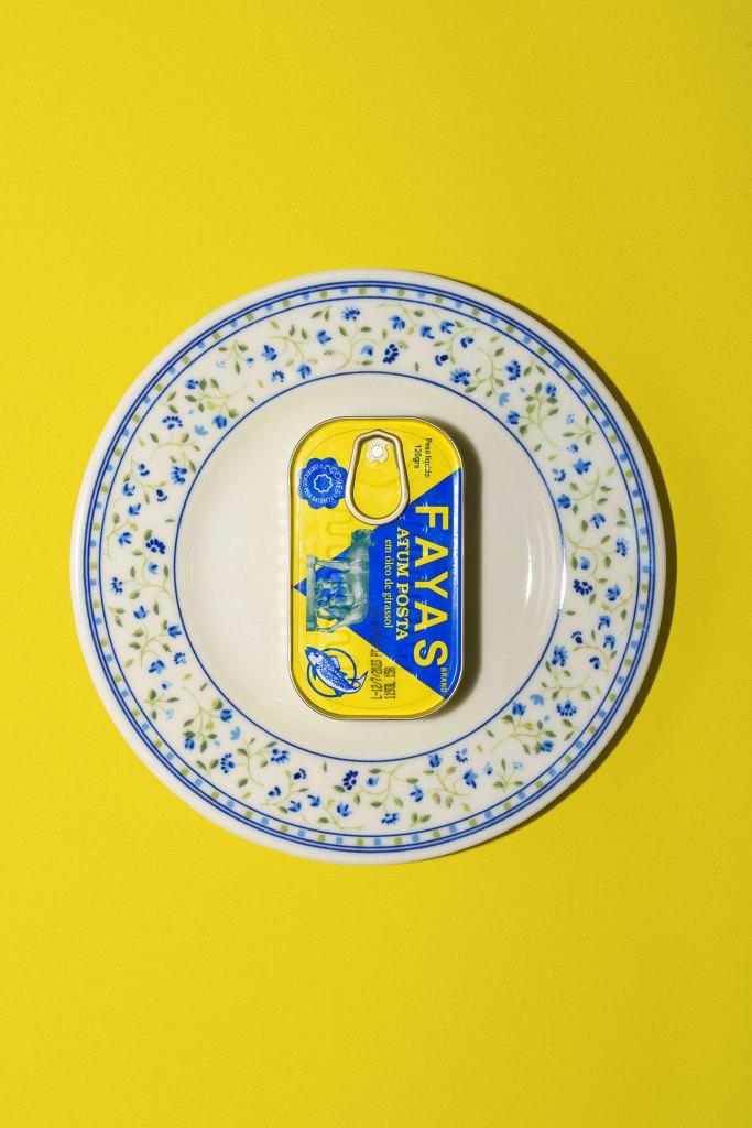 Fayas sardine can on a plate
