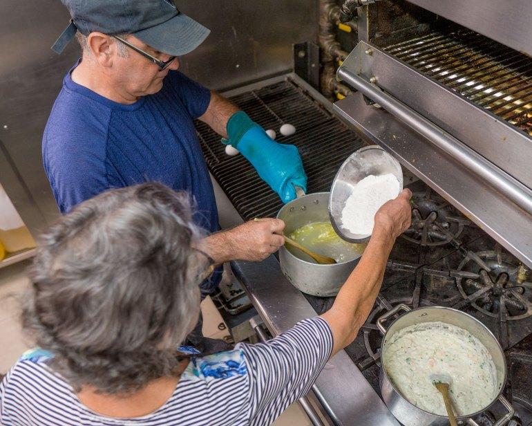 avó Beatriz Gonçalves making rissóis at Grāz restobar