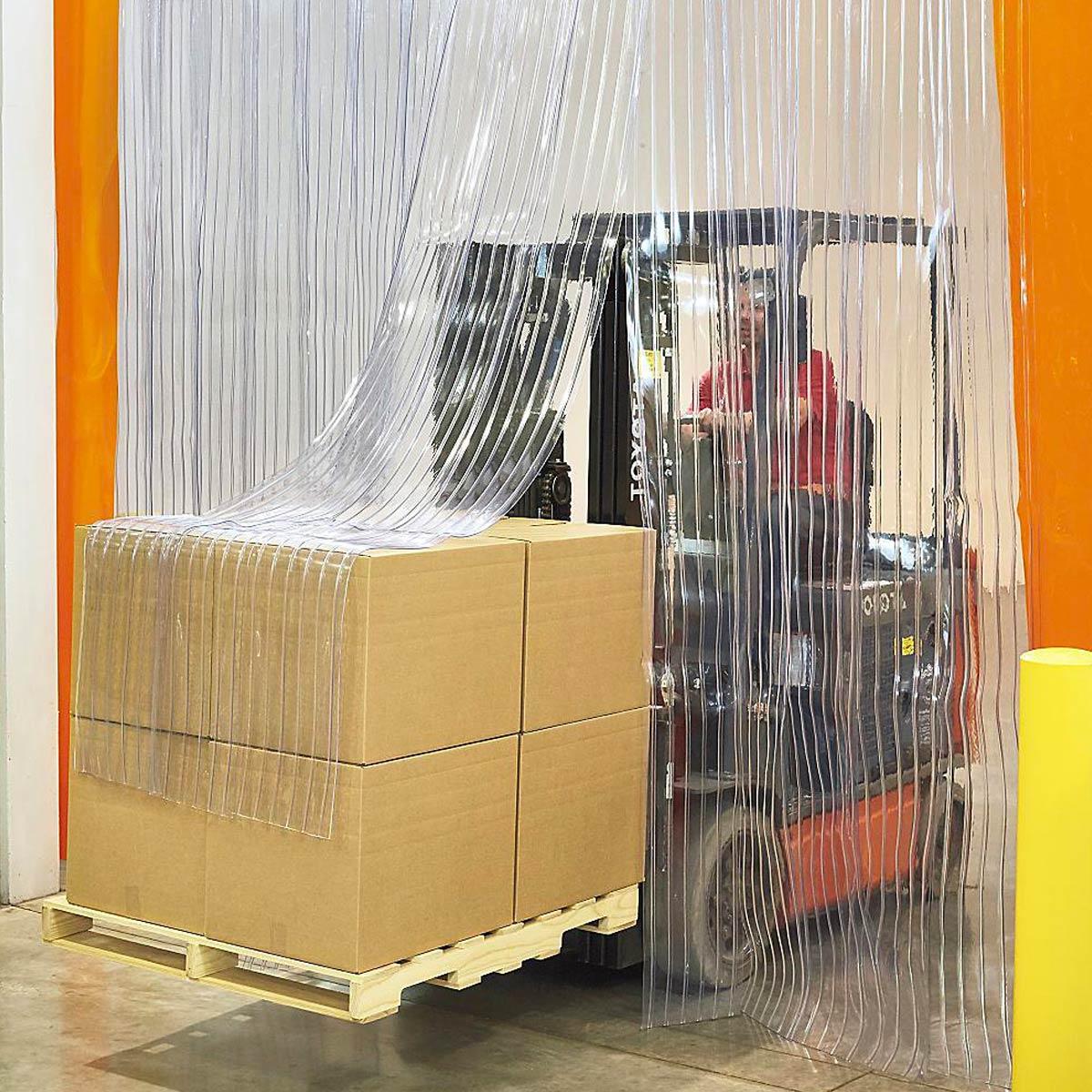 Clear vinyl door strip curtains at Lustercraft