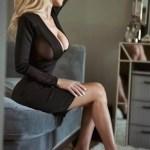 side boob on black transparent dress