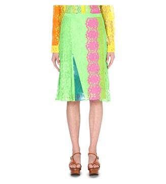 Christopher Kane Contrast Lace Silk-blend Skirt