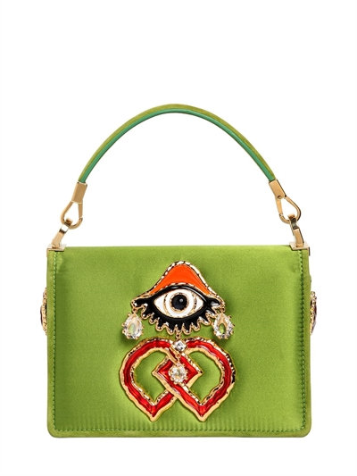 DSquared2 Swarovski and Eye Charm Satin Shoulder Bag