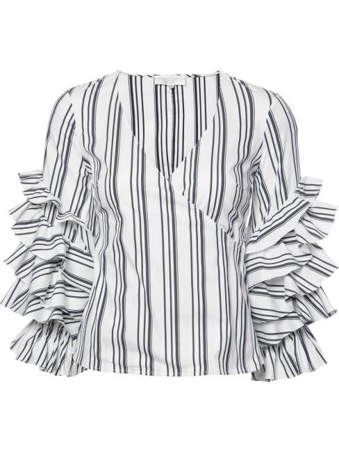 Caroline Constas Striped Ruffled Sleeves Blouse