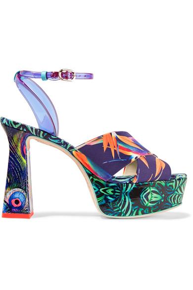 Sophia Webster Effie Printed Leather and Vinyl Platform Sandals