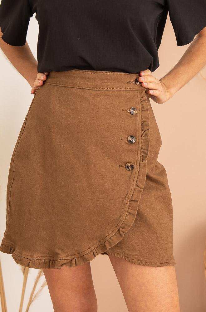 jupe marron à boutons