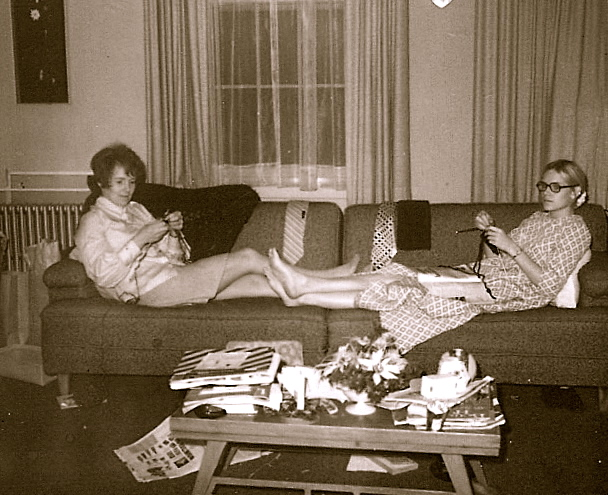 Mom and Me, chilling. Note coffee table piled with everything but coffee