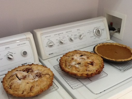 Pies, left to right: cranberry-apple, apple, and pumpkin, pre-feast, in the Pie Keeper, AKA laundry room.