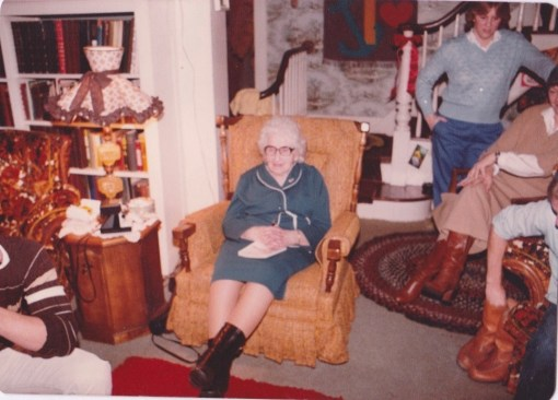 Which uncle is missing from this picture? Gramma P, who yes, believed in Santa, eagerly awaits his Big Entrance