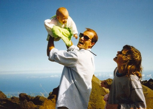 The Dude, about to sacrifice The Child to the naming gods (we're on the lip of a Hawaiian volcano here)