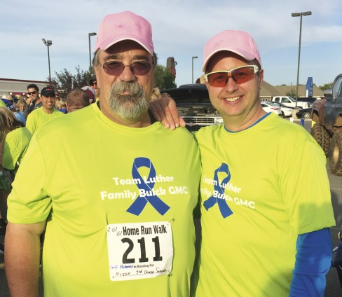 Cancer survivor Larry Mitchell and Controller Shawn Preabt, Luther Family Buick GMC Roger Maris cancer walk