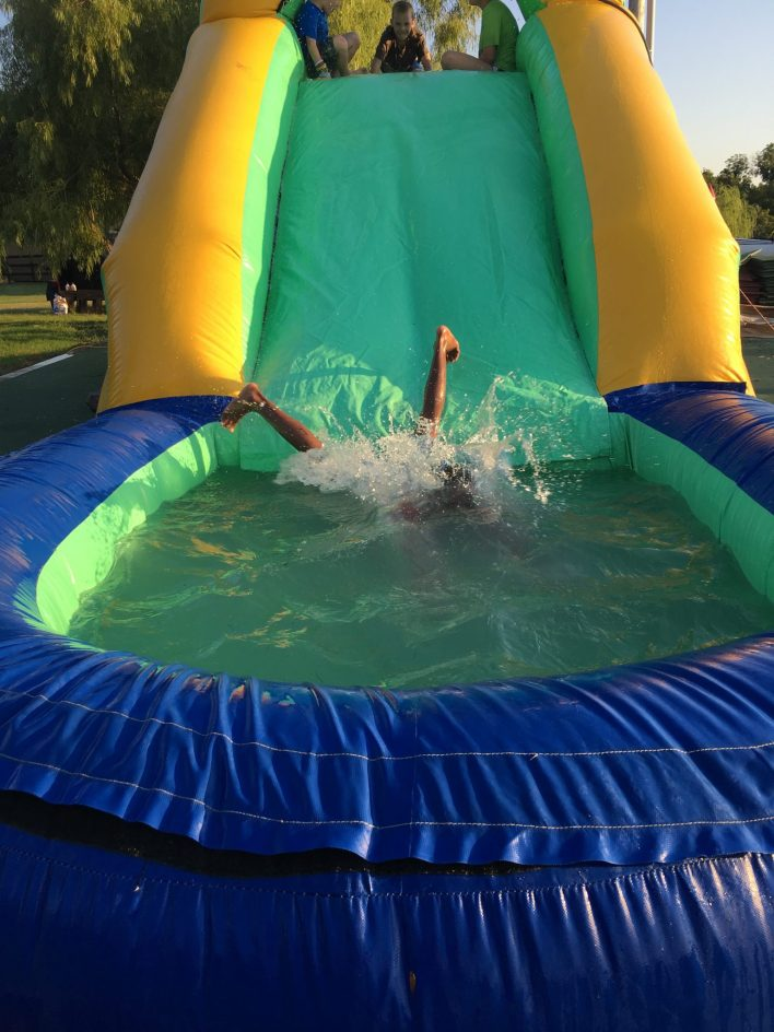 A waterslide inflatable kept the kids cool at the Anna's House Back to School event.