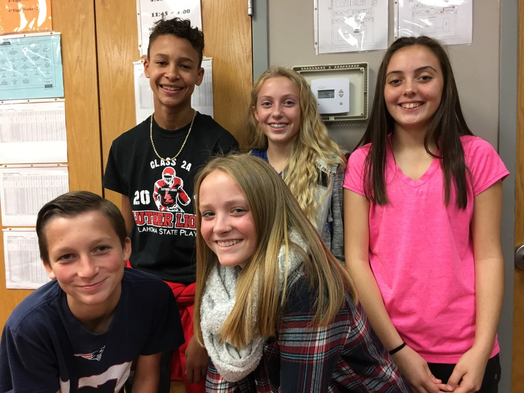 Eighth Grade Student Council: front, Jared McCuddy, Kacie Bolner, back, Fredrick Greenhoward, Bailie Wiles and Ashley Gould