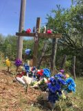 The memorial at the bridge on Choctaw Road.