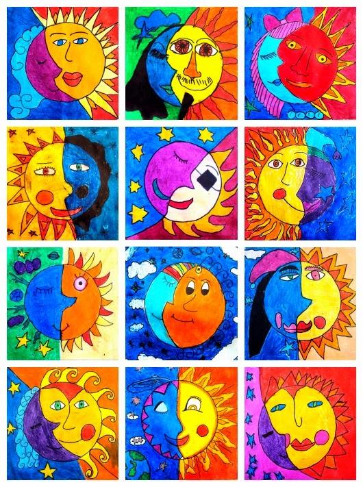 Le jour et la nuit pistes de travail lutin bazar - Couleurs chaudes et froides en peinture ...