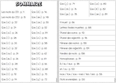 cahier de sons CE2 sommaire complet