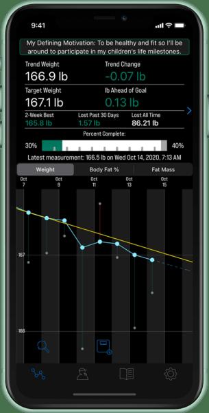 weight loss tracking - goal tracking screenshot