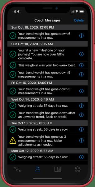 weight loss tracking - coaching and guidance screenshot