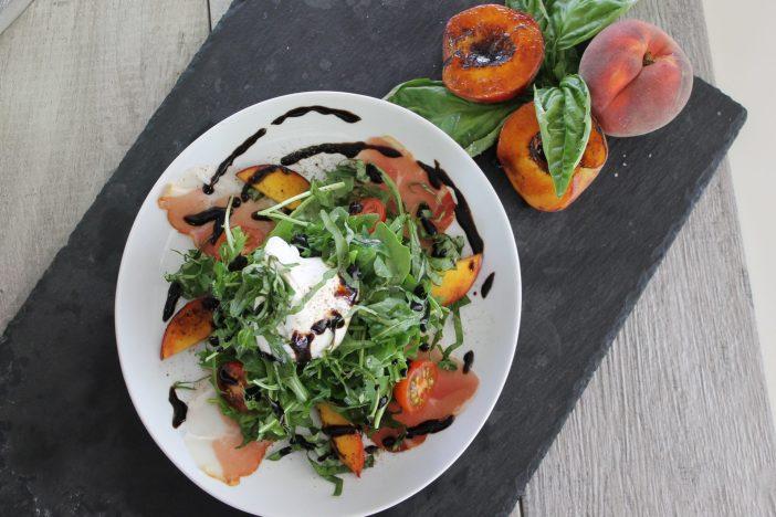 Bruleed Peach Burrata Basil Salad with Prosciutto