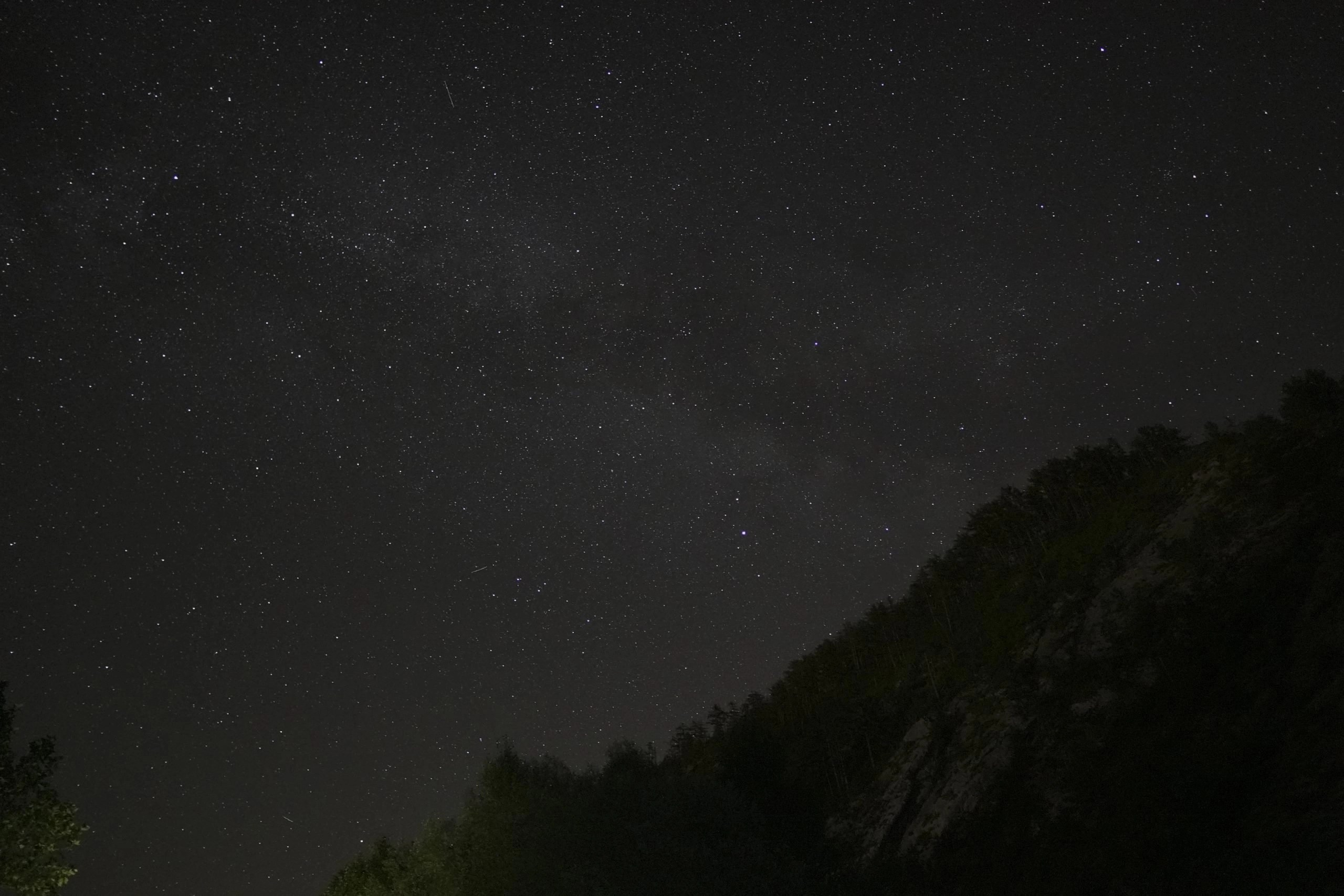 Darkness equals stars at night