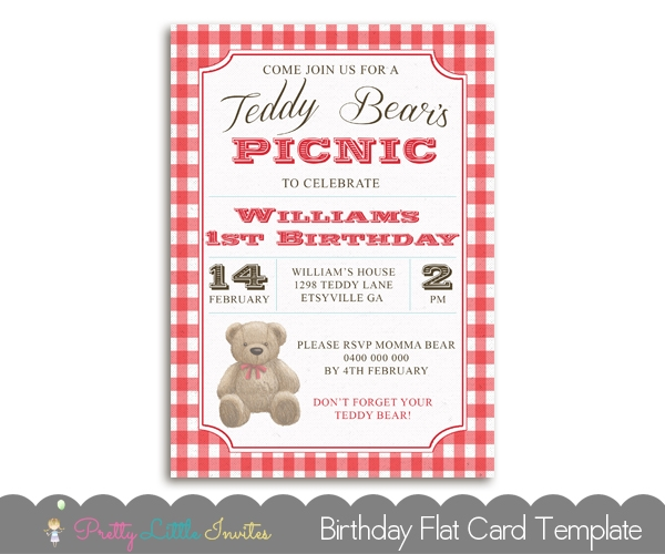 teddy bears picnic birthday invitation