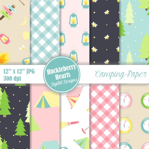 Camping Digital Scrapbook Paper Graphics Other Luvly