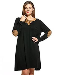 Amazon:  Women's Casual Plus Sizes Long Sleeve Elbow Patch Loose Dress Only $7.80 Shipped! (4 colors)