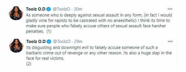 """""""It's time to make sure people who falsely accuse others of sexual assault face harsher penalties"""" - OAP Toolz"""