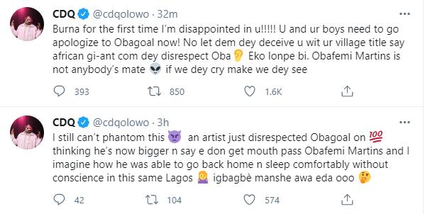 "CDQ calls out Burna Boy for ""disrespecting"" Obafemi Martins"