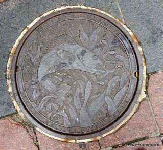 Minneapolis Nicolette Mall Public Art Manhole covers Fish