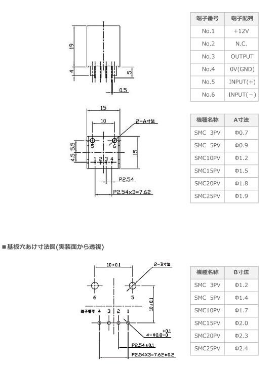 SMCPVシリーズの寸法図