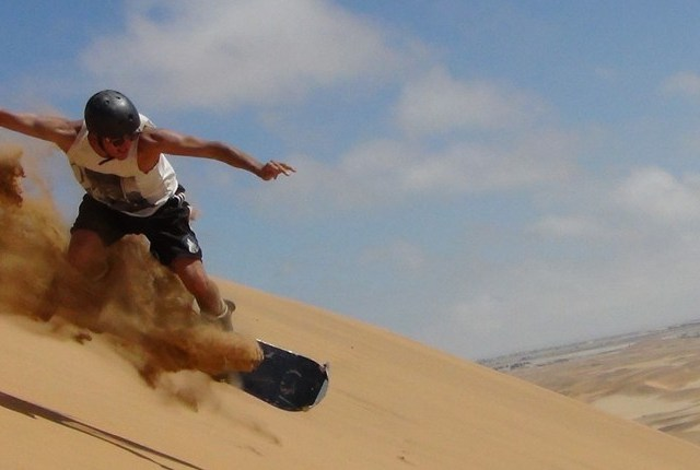 Sand boarding in Namibia