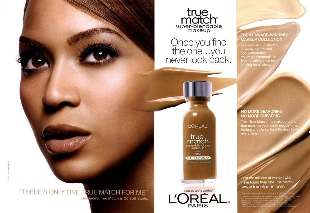 Photo Credit: Beyonce in L'Oréal True Match Super-Blendable Makeup Campain