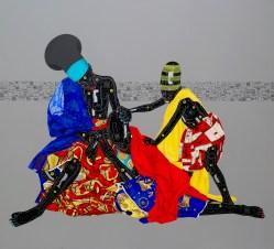 """Title: Oubliez le passé et vous perdez les deux yeux"""" », Dimension: 200cm x 200cm, Technique: Acrylique et huile sur toile, Année 2016"""
