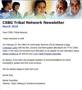 Border with a giroup of diverse people in ethnicity and age. March 2018 CSBG Tribal Network Newsletter