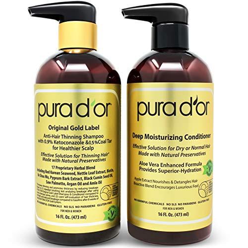 PURA D'OR Anti-Thinning Shampoo w/Biotin, Coal-Tar