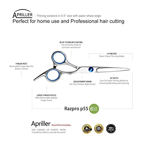 Hair Cutting Scissors/Thinning Shears/Professional Barber/Salon This hair chopping shears has sharp blade which may simply create the proper trim, reduce and fade and keep away from harm or cut up hair ends.