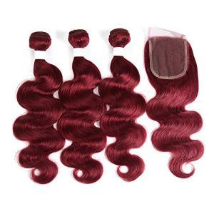 X-tress Brazilian Remy Hair Burgundy Bundles with Free Part Lace