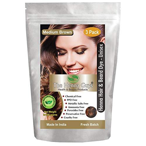 3 Packs of MEDIUM BROWN Henna Hair & Beard Dye/Color