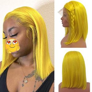 Short Yellow Bob Wig Human Hair with Baby Hairs 8 Inch Middle Part