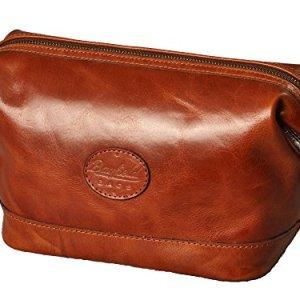 Mens Toiletry Travel Bag-Mens Toiletry Bag-Brown Travel Shaving Kit Case