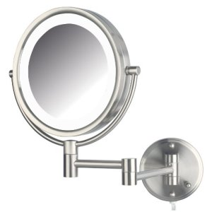 Jerdon 8.5-Inch LED Lighted Wall Mount Makeup Mirror with 8x Magnification