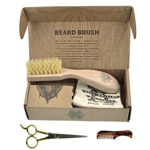 Beard & Mustache Set of Kent Boar Bristle Beard Brush + Kent Handmade