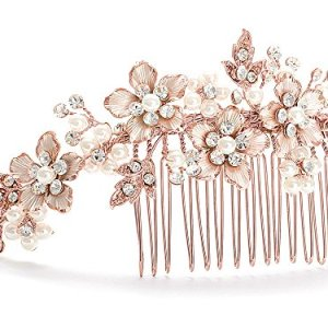 Mariell Handmade Brushed Rose Gold and Ivory Pearl Wedding Comb